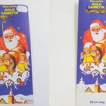 Vintage Gold German Christmas Tinsel Set of 2  Das  echte  Gold Lametta Christmas Tree Tinsel Made In Germany Vintage Holiday Decor