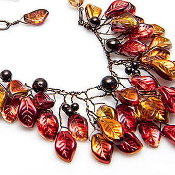 Brown Orange Statement Necklace, Fall Colors Bib Necklace, Leaf Necklace, Nature Jewelry