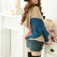 Korean fashion design Loose Bat-wing Sleeve Color Blocking Sweater unique
