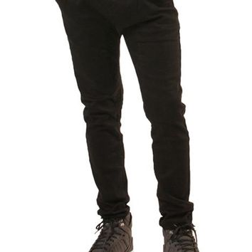 :DOK FACE Draw String  Drop Crotch Black Denim Joggers