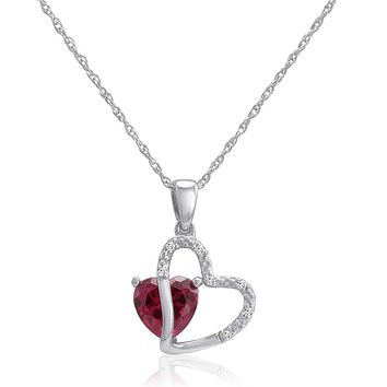 Sterling Silver Created Gemstone and Natural Diamond Heart Pendant-Necklace