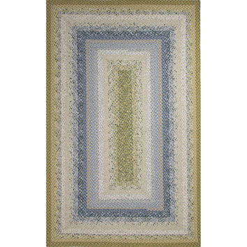 Jaipur Rugs Braided Solid Pattern Blue/Green Cotton and Polyester Area Rug CBR05 (Rectangle)