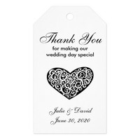 Black and White Heart Wedding Thank You Gift Tags