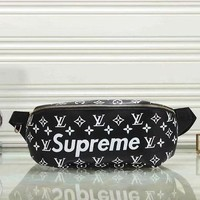 Louis Vuitton & Supreme Fashion Women Men Leather Wallet Waist Bag Single-Shoulder Bag Black I