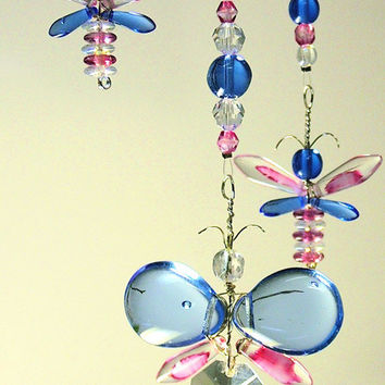 Pink Butterfly Mobile Childrens Hanging Mobile Crystal Suncatcher Blue Butterfly Hanging Decor Glass Mobile Pink Fairy Mobile Window Charm