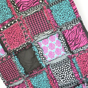 RAG QUILT, Toddler Bedding, Baby Blanket, Zebra, Pink,  Turquoise, Made to Order