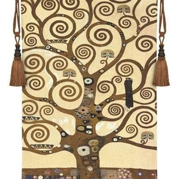 Tree of Life by Klimt Tapestry Woven with Gold Embellishments