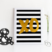 XO PRINT,Black And Gold,XO Art,Hugs And Kisses,Xo Wall Print,Girl Room Decor,Gossip Girl,Fashion Print,Fashionista,Xo Quote,Typography Print