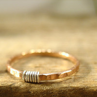 Stacker Rings Fine 14k Pink Gold Filled Silver Wrap Hammered Ring Single Stacking Rings Collection
