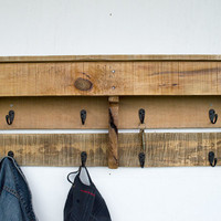 Entryway Coat Hooks - Reclaimed Wood Coat Rack - Pallet Furniture - Pallet Wood Shelf - Organizer - Key Hooks -  Rustic Decor - Key Holder