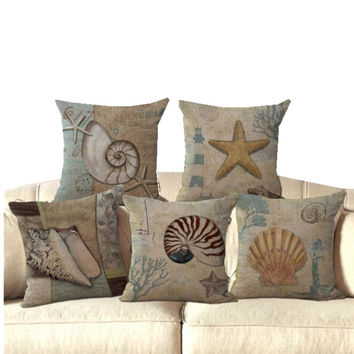 Vintage Shell Starfish Linen Cotton Pillow Cover Home Decor Cushions Cover Decorative Throw Pillows Pillowcase Wedding Gift