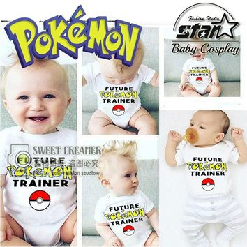 Newborn Baby Girls Boy 0-3 yrs Cartoon  Go Costume Lovely Cute Baby Jumpsuit  Clothes Outfit 2016 NEW Fashion DesignKawaii Pokemon go  AT_89_9