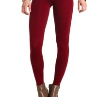 Basic Cotton Spandex Legging by Charlotte Russe - Wine
