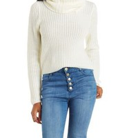 White Shaker Stitch Turtleneck Sweater by Charlotte Russe