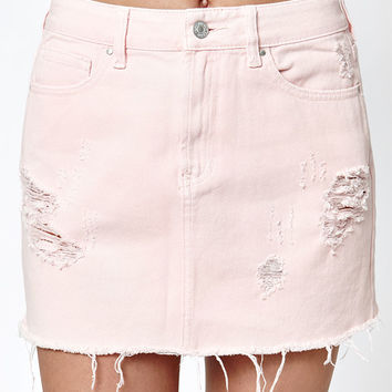 PacSun Pink Destructed Denim Mini Skirt at PacSun.com