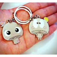 Sweet Couples Mushroom His and Hers Keychain Set | christinepurr - Accessories on ArtFire
