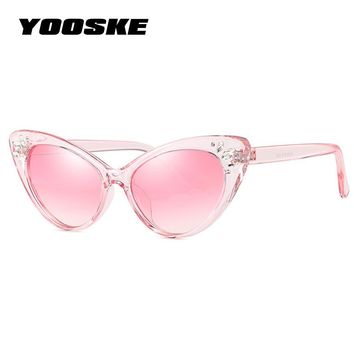 YOOSKE 2018 Luxury Rhinestone Sunglasses Women Cat Eye Sun glasses Ladies Sexy Pink Vintage Crystal Sunglass Shades for Women