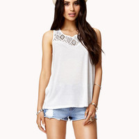 FOREVER 21 Studded Sleeveless Top Cream