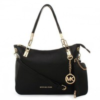 MK Classic Women Shopping Leather Handbag Tote Shoulder Bag Wallet Purse Set Two-Piece(6-Color) Black I