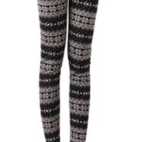 Women Snow Snowflake Pattern Length Footless Tight Pantyhose Legging One Size Multicolored