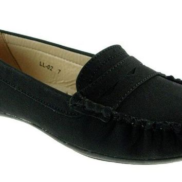 Women's Rocus Moccasin Slip On Penny Loafers Shoes LL-02 Black