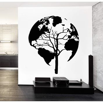 Wall Decal World Map Tree Cool Abstract Vinyl Sticker Unique Gift (z3248)