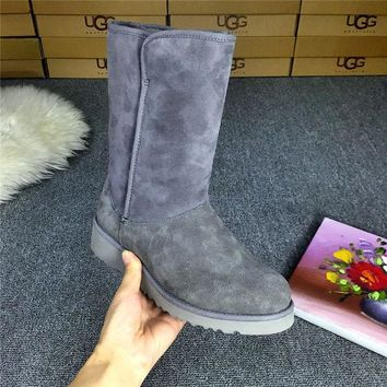 LFMON UGG 1012497 Wedges Tall Women Fashion Casual Wool Winter Snow Boots Grey