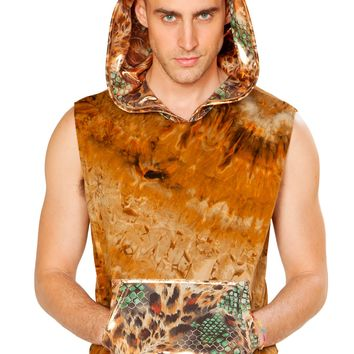 Faux Suede Hooded Sleeveless Shirt