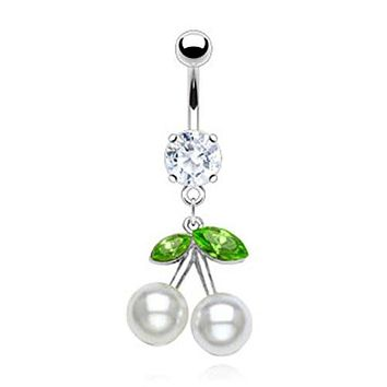 Marquise Cut CZ and Pearl Cherry Dangle 316L Surgical Steel WildKlass Belly Button Rings (Sold by Piece)