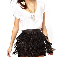 Black Layered Fringe Mini Skirt