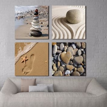 4 Panel Romantic Beach Theme Prints on Canvas Wall Art - 5 Size Options