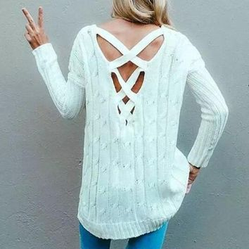 White Plain Cut Out Cross Back Pullover Sweater