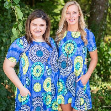 Blue & Yellow Circle Print Tunic Dress