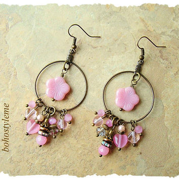 Boho Vintage Style Earrings, Pale Pink Romantic Earrings, Cherry Blossoms, Bohemian Jewelry, bohostyleme, Kaye Kraus
