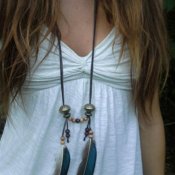 Young Wild and Free, Feather Necklace, Boho, Bohemian, necklace, Native, American, style, Real Feather, Feather, Turquoise, native american