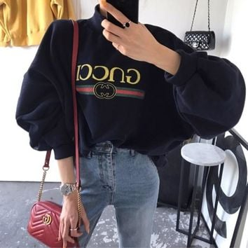 Gucci Winter Alphabet Print Pullover One Size Tops [11532967948]