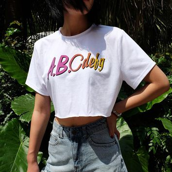 Women Loose Casual Fashion Print Letter Short Sleeve T-shirt Crop Tops