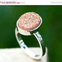 Boxing Day Sale Geode Ring,Statement Ring,Sparkle Ring,Druzy Ring,Drusy Ring,Drusy Quartz,Stone Ring,925 Sterling Silver!!