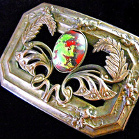 Egyptian Floral Relief Art Nouveau Brooch, Pate de Verre Green Red Glass, Antique-Vintage