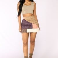 Recovering Lover Multi Color Skirt - Brown Combo