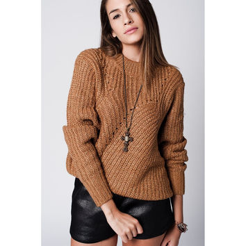 Camel Chunky Knit Jersey with Cutouts