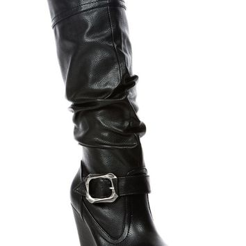BLACK FAUX LEATHER SIDE ZIPPER BUCKLE ACCENT KNEE HIGH WEDGE BOOTS