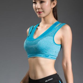 Running Vests Jogging Double Layer Seamless Push Up Padded Wire Professional  High Impact Racerback Double Layer Yoga Sports Bra KO_11_1