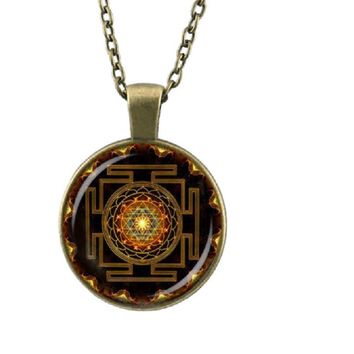 Sri Yantra Mandala Glass Dome Pendant Necklace
