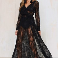 Nasty Gal One and Only Lace Maxi Dress - Black