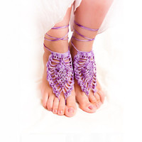 On  SALE Purple Barefoot sandals gypsy nude shoes sexy lace crochet