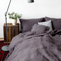 AUS Queen Size Dark Grey Linen Bed Set