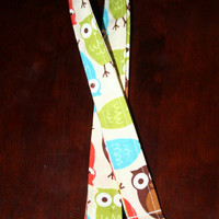 "Fabric Lanyard / ID Holder with lobster claw clasp Urban Zoologie Owls 20"" Drop -"