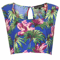 e Hibiscus Crop Top - Blue