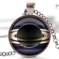 Saturn Necklace, Saturn Rings Art Pendant, Science Jewelry, Universe Necklace Gift for Him or for Her (379)